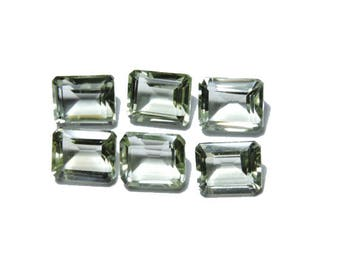20 Carats 6 Pcs Very Beautiful Natural Green Amethyst Faceted Rectangle Shape Gemstone Beads Size 10X8 MM