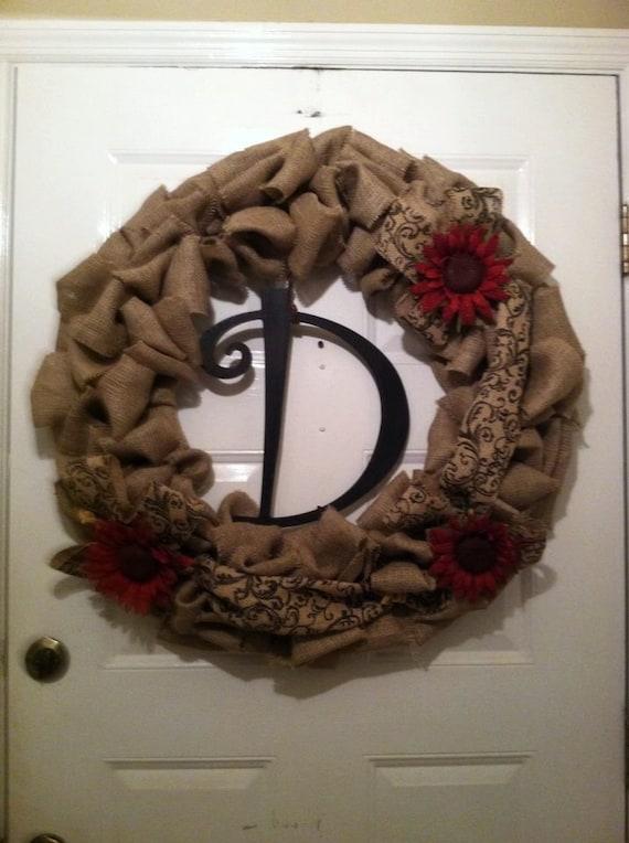 Burlap Wreath - Housewarming Gift - Bridal Shower Gift - Monogram Home Decor - Rustic Wedding - Everyday Wreath - Front Door Wreath -