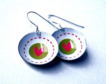 You Have My Heart Tin Can Earrings