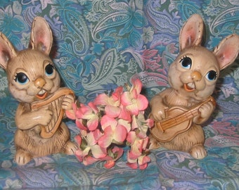 MY Hand Painted Big Eyed Bunny Rabbits from Korea - Set of 2