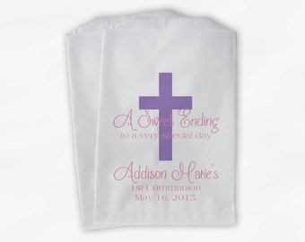 First Communion Favor Bags - Baptism or Religious Party Custom Favor Bags - Set of 25 Light Purple and Pink Paper Treat Bags (0073)
