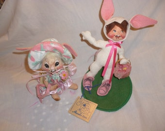 Annalee Dolls lot of 2:  1994 Spring bunny and Easter Bunny kid