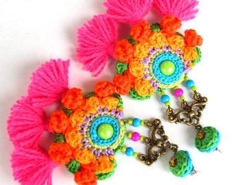 tassel earrings, boho earrings, hippie earrings, large earrings, orange pink earrings, statement earrings, mexican wedding, frida kahlo