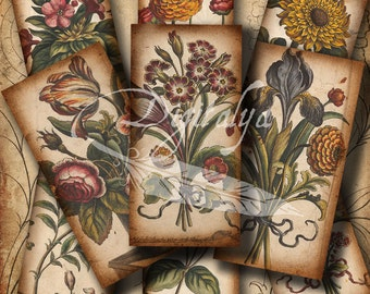 ANTIQUE FLOWER SKETCHES - Digital Collage Sheet with 30 different Dominos 1x2 inch or Bamboo size for pendant magnet paper craft