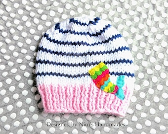 Nautical Chunky Knit Colorful MERMAIDS Tail inspired Handmade Hat  Beanie, nautical mermaid apparel, Girls clothing, baby shower, wholesale