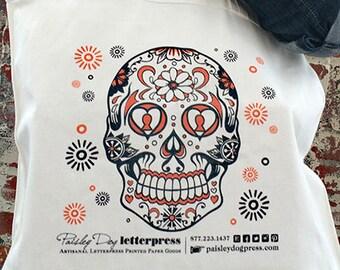 CANVAS TOTE - Day of the Dead Skull / Tattoo / Halloween / Sugar Skull / Handbag / Purse / Letterpress / Holiday (Orange)