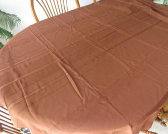 Vintage Cocoa Brown Rectangle Tablecolth, 50 Inch By 68 Inch Tablecloth, Vintage LInen, Rectangle Cloth, Fall Tablecloth