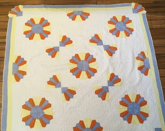 Vintage handmade quilt, old quilt, hand stitched, country, decor, blanket, cabin, cottage, antique, wall, bedding, quilt, orange, blue,