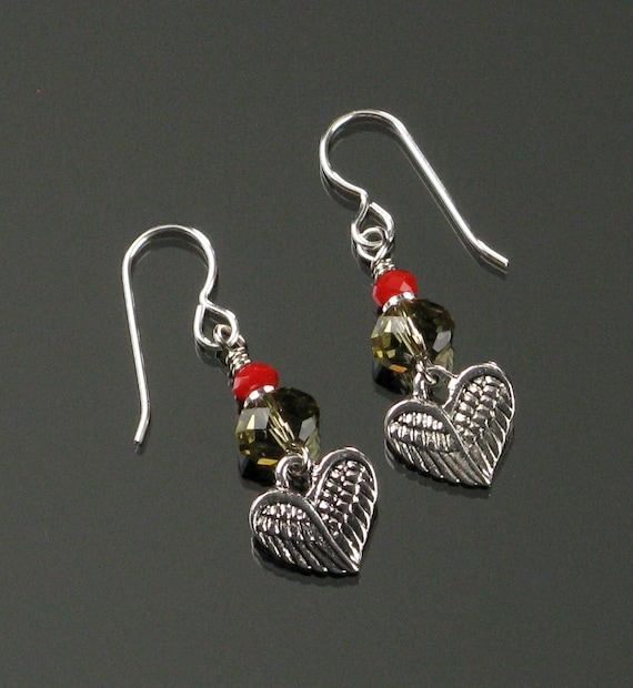 Winged Heart Silver Earrings, Red Crystal Dangle Earrings, Unique Heart Love Jewelry Gift for Mom, Valentines Gift for Her, Girlfriend Gift