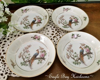 4 Sauce/Fruit Bowls - Bird of Paradise -H & Co HEINRICH, Selb Bavaria Germany (US Zone) c 1940s