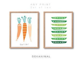 Carrot Art Print, Peas Art Print, Kitchen wall decor, Kitchen Art, Fruit Art Print, Vegetable Print, Botanical art print, Kids room poster