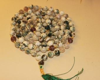 Moss Agate Mala necklace beaded crystal bohemian boho gemstone tasse long tree agate healing crystals prayer beads mala beads