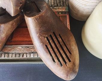 Pair of Antique Wooden Shoe Forms / Primitive Wooden Shoe Form / Farmhouse Decor