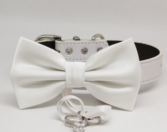 White Dog Bow Tie ring bearer collar, Pet accessory, puppy lovers, Proposal, White bow tie collar,  Dog of honor