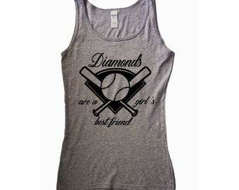 Diamonds Are a Girl's Best Friend, Baseball Shirt, Baseball Tank Top, Baseball Tee, Baseball Mom, Softball Shirt, Baseball Muscle Tee