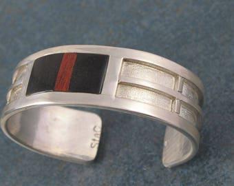 Wood Inlay Cuff Bracelet Sterling Silver, unisex