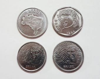 4 Brazil Coins - Cruzeiros and Centavos  - Vintage World Coins Collection - Brasil Currency