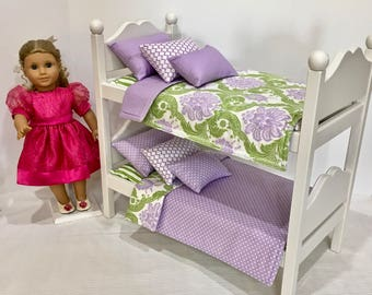 American Girl doll bunk beds, white  purple bedding.