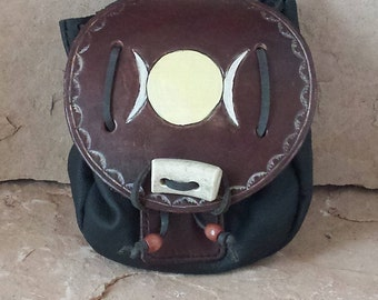 Handmade Leather Sporran Bag with Triple Moon, Outer Antler Closure, Genuine Cowhide, Brown Belt Bag with  Pouch for Your Magickal Items