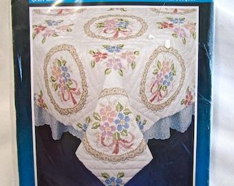 New Vintage Bucilla Stamped Quilt Block Flower Bouquet 63163 Cross Stitch Embroidery