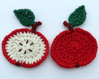Crochet applique, crochet fruit, 2 small red crochet apples, Cardmaking, scrapbooking, appliques, handmade, sew on patches embellishments