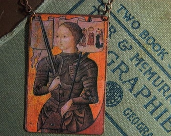 Joan of Arc  necklace mixed media jewelry