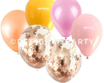 Flamingo Glam Peach, Pink & Rose Gold Balloon Mix With 2 Confetti Balloons (12 Pack) DMP037