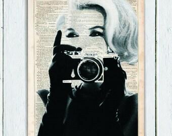 Marilyn Monroe Camera, Dictionary Art Print, Upcycled Book Art, Print on Dictionary Paper Wall Decor, Wall Hanging, Mixed Media Art