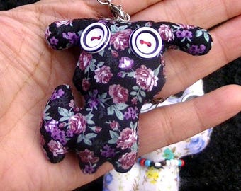 CREATION! A SOFT JEWELRY BAG DOLL PRINTED FLORAL BLACK 6.5 * 6 CM DOLL