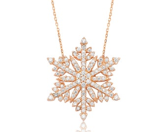 Sterling Silver Snowflake Necklace Too - IJ1-1479