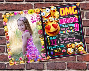 Invitation, Emoji Invitation, Emoji Birthday Invitation, Emoji card, Emoji Printable, Emoji, Emoji Ornament, Emoji Invite