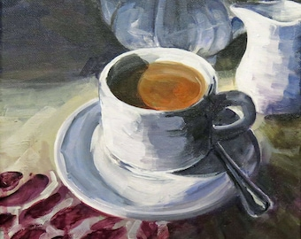 Tea For One - Contemporary painting, Still-Life, acrylic on canvas, figurative, realistic, fine art, modern art, small canvas