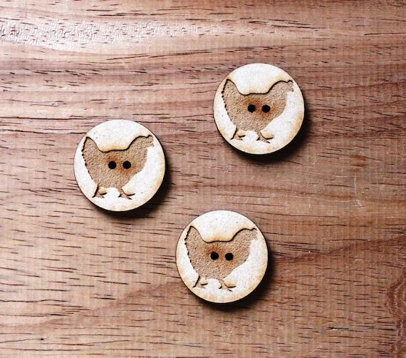 3 Craft Wood Hen Farmyard.Round Buttons, 3 cm Wide, Laser Cut Wood