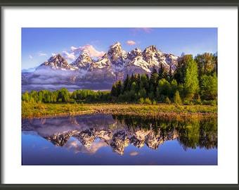 Framed Photography, Grand Teton Framed Print, Wooden Frame, Framed Art, Wyoming Framed Photo, Rugged, Ready To Hang, Purple Green Home Decor
