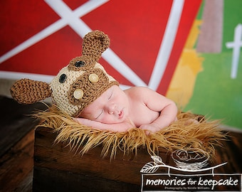 Baby Cow Beanie Newborn to 3 Months, Brown Cow, Newborn hat