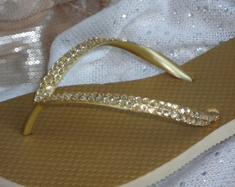 Gold Flip Flops With Light Gold Crystals