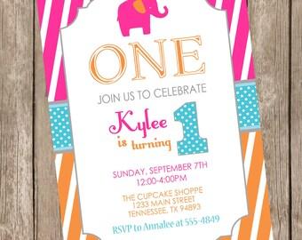 Elephant birthday invitation, elephant 1st birthday invitation, girl elephant birthday invitation, hot pink, orange, aqua