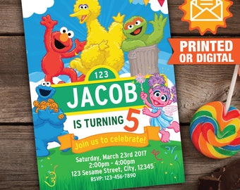 Printed or Digital - Sesame Street Invitation, Printable Sesame Street Party, Elmo Birthday Invite, Sesame Street Invitation, Plaza Sesamo