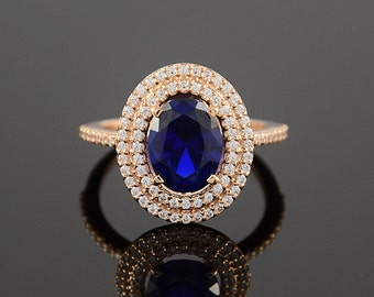 Multistone ring, Blue stone ring, Oval ring gold, Women ring gold, Rose gold ring, Halo ring gold, Unique ring for her, CZ ring gold