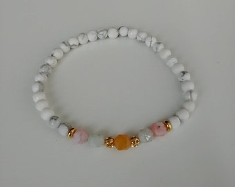 4mm Morganite with Howlite, gold spacers