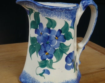 Cash Family Pitcher, White with Blue Floral Accents, Hand Painted