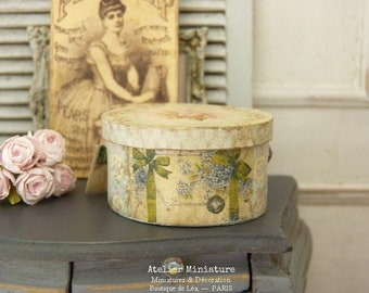 French Dollhouse, 1:12th scale, Doll's hat box, Miniature Accessory, Wood & Paper, Pastel Prints, Aged Blue