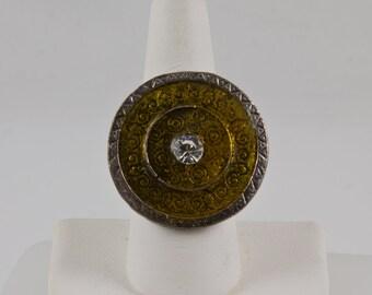 Statement Ring, Round silver flat bezel with Amber enamel, 1 large diamond cut crystal in center Curlicue ingravings below enamel