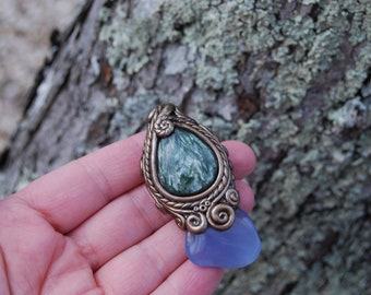 Gorgeous pendant of seraphinite and blue chalcedony
