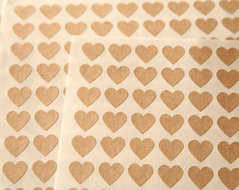108 Kraft Heart Stickers - FREE SHIPPING with other purchase