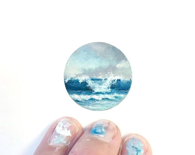 Print of miniature watercolor painting of waves.  giclee print of ocean waves