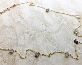 Zircon natural zircon gemstone Necklace genuine simple feminine unique 14k gold fill layering fall colors minimal chain December birthstone