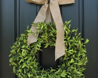 "15"" Boxwood Wreaths - Artificial Boxwood - Boxwood Decor - Year Round Outdoor Wreath - Simple and Modern - Burlap Bows"