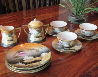 Gorgeous Vintage Porcelain Japanese Gold Gilded Mt. Fuji Mark Tea Set  Eleven Pieces