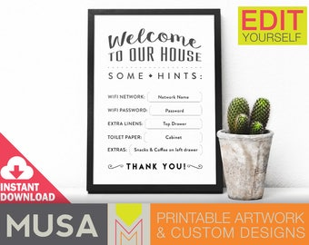 Guesthouse welcome info sign / Instant Download / EDIT YOURSELF